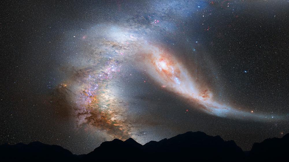 Andromeda łącząca się z Drogą Mleczną