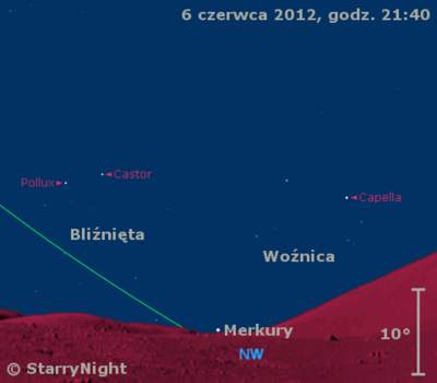 Położenie Merkurego w końcu pierwszej dekady czerwca 2012 r.