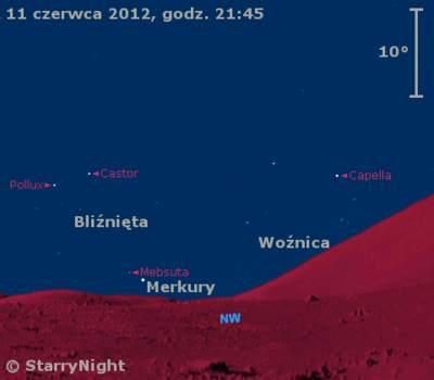 Położenie Merkurego wdrugim tygodniu czerwca 2012 r.