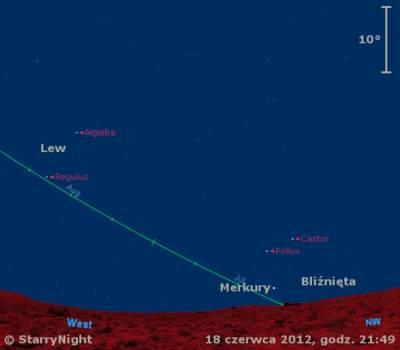 Położenie Merkurego iKsiężyca wtrzecim tygodniu czerwca 2012 r.