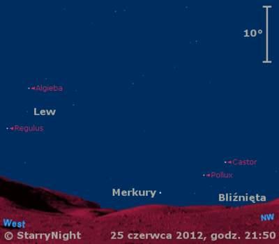 Położenie Merkurego wczwartym tygodniu czerwca 2012 r.