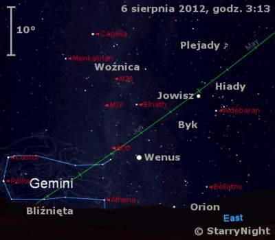 Położenie Wenus, Jowisza i Księżyca w drugim tygodniu sierpnia 2012 r.