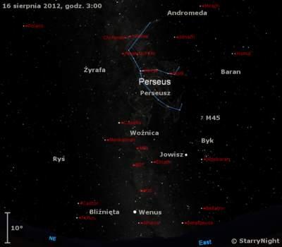 Położenie radiantu Perseidów oraz Jowisza i Wenus w  trzecim tygodniu sierpnia 2012 r,