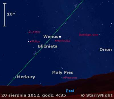 Położenie Wenus iMerkurego wczwartym tygodniu sierpnia`` 2012 r,