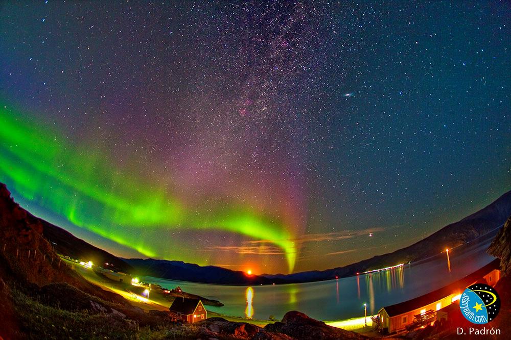 Zorza polarna nad południową Grenlandią