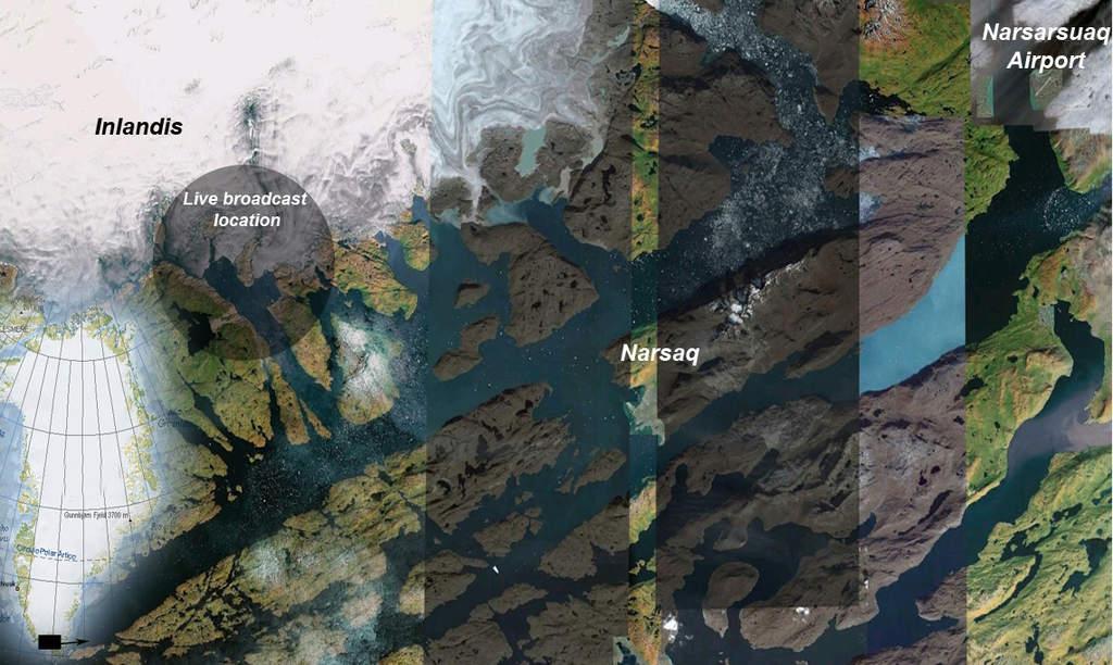 Mapa zlokalizacją obozu badaczy zórz polarnych