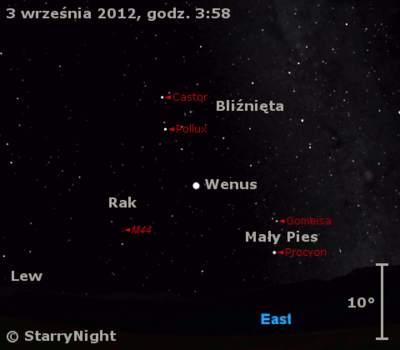 Położenie Wenus wpierwszym tygodniu września 2012 r.