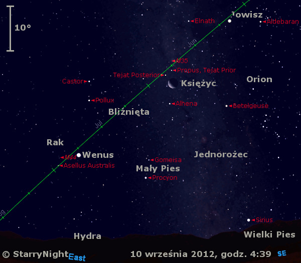 Położenie Wenus, Jowisza i Księżyca w drugim tygodniu września 2012 r.