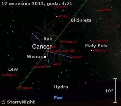Położenie Wenus w trzecim tygodniu września 2012 r.