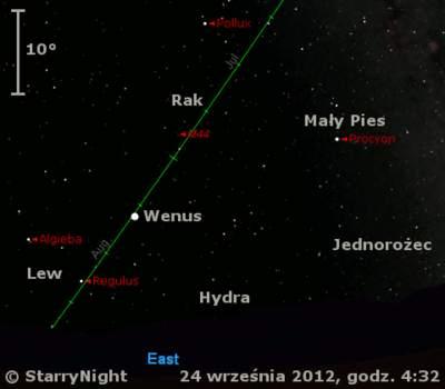 Położenie Wenus wczwartym tygodniu września 2012 r.