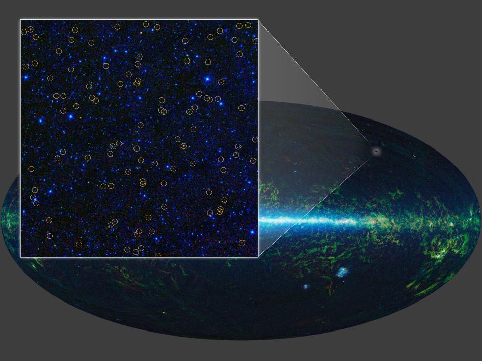 Obraz całego nieba sporządzonego przez WISE w podczerwieni.