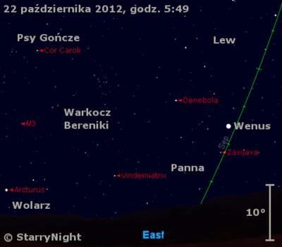 Położenie Wenus wczwartym tygodniu października 2012 r.