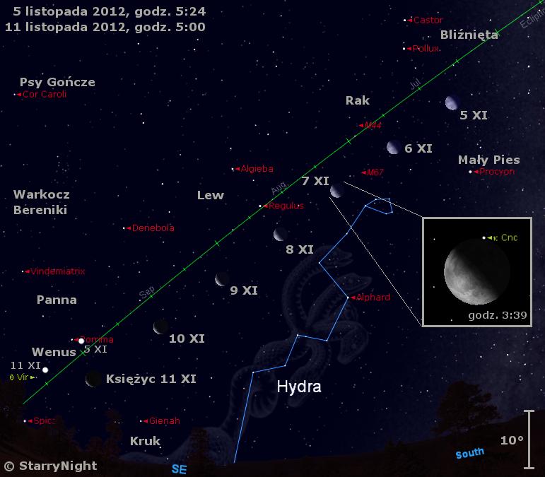 Położenie Księżyca i Wenus w drugim tygodniu listopada 2012 r.