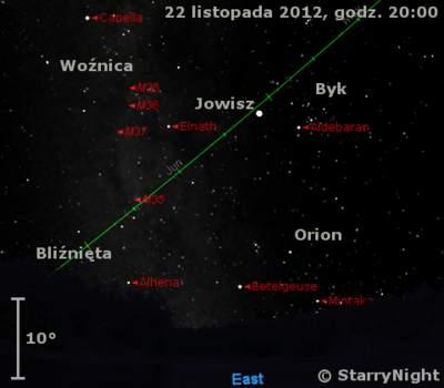 Położenie Jowisza wczwartym tygodniu listopada 2012 r.