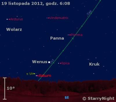 Położenie Wenus, Saturna wczwartym tygodniu listopada 2012 r.