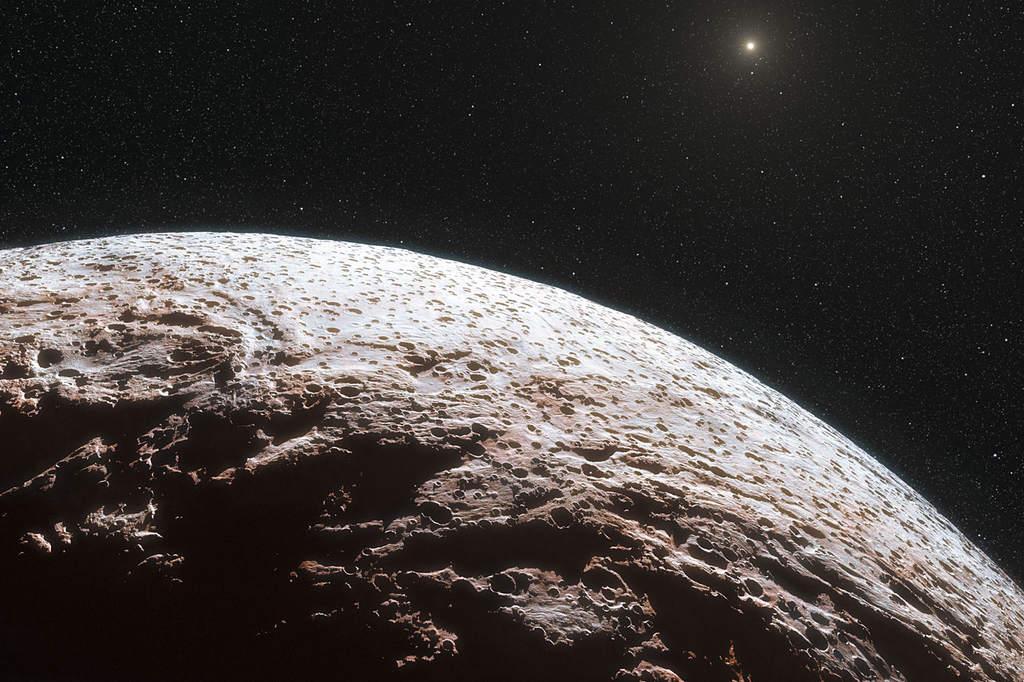 Artystyczna wizja powierzchni planety karłowatej Makemake