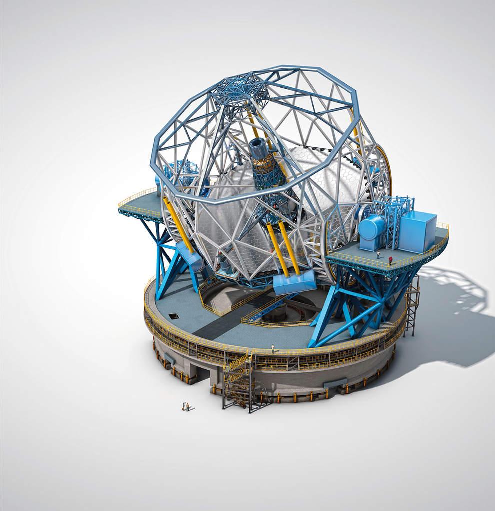 Schemat Ogromnie Wielkiego Teleskopu Europejskiego (E-ELT)