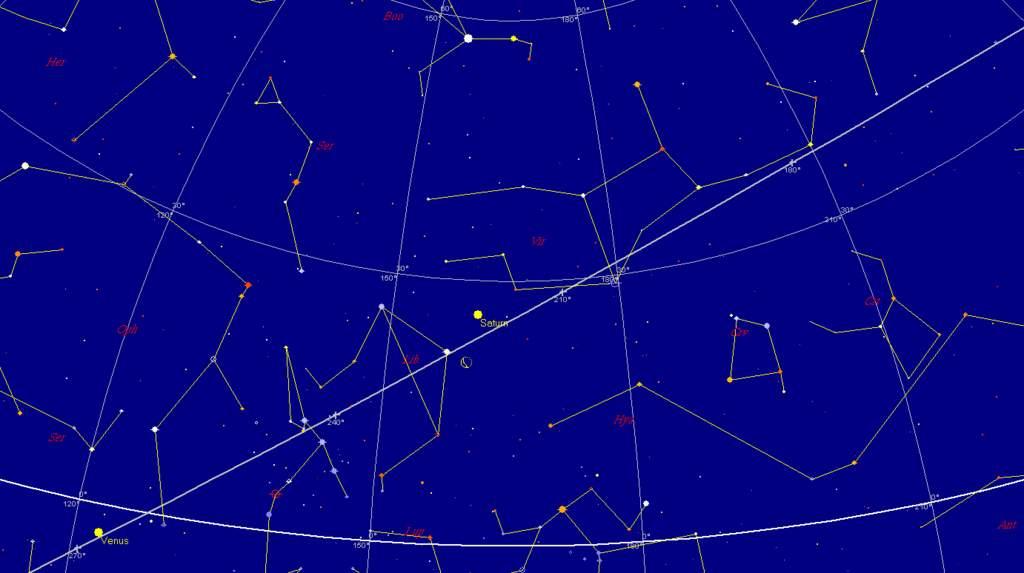 Księżyc i Saturn, 7 stycznia 2013, godzina 6:00