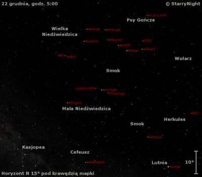 Położenie radiantu Ursydów wtrzecim tygodniu grudnia 2012 r.