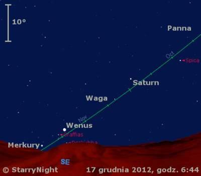 Położenie Saturna, Wenus iMerkurego wtrzecim tygodniu grudnia 2012 r.