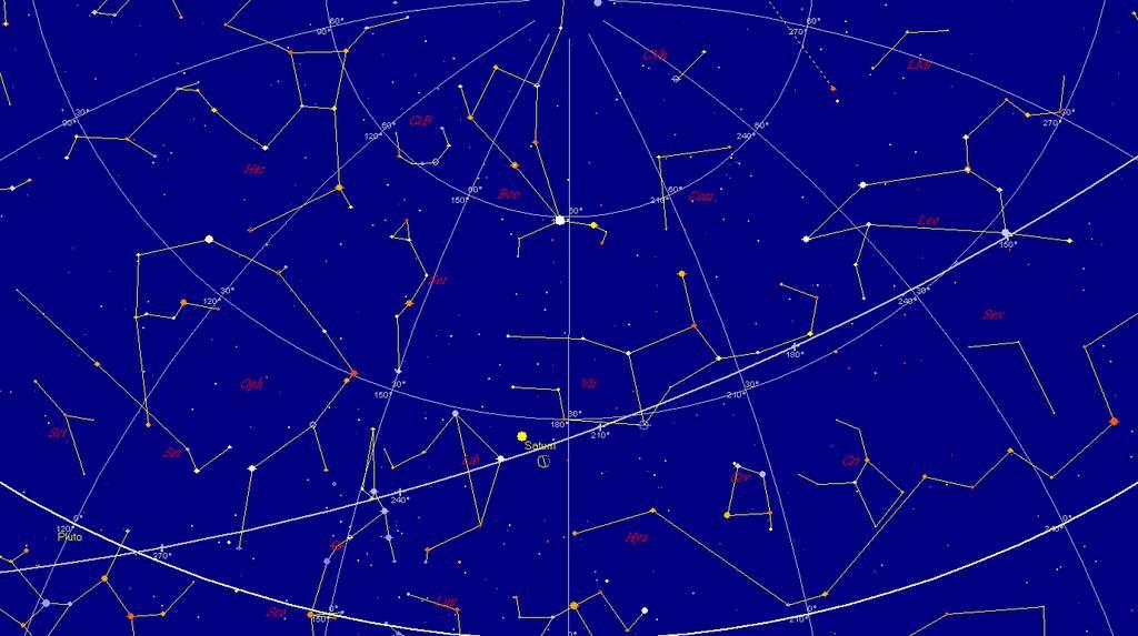 Niebo nad południowym horyzontem, 3 lutego 2013