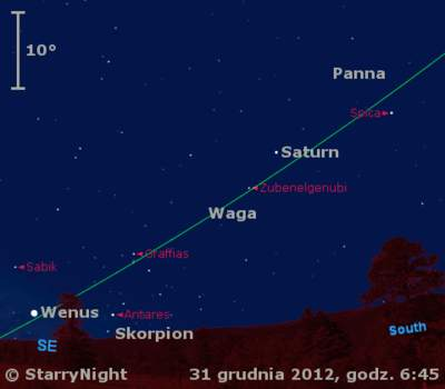 Położenie Wenus iSaturna wpierwszym tygodniu 2013 roku