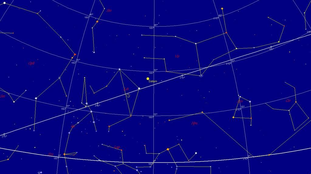 Księzyc i Saturn, 3 marca 2013, godzina 3:30