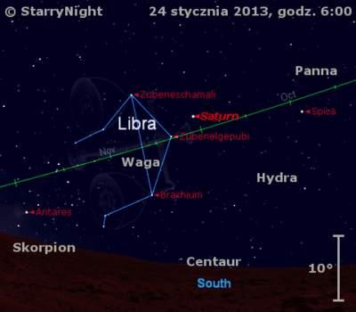 Położenie Saturna wczwartym tygodniu stycznia 2013 r.