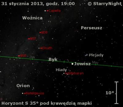 Położenie Jowisza naprzełomie stycznia ilutego 2013 r.