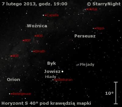 Położenie Jowisza wkońcu pierwszej dekady lutego 2013 r.