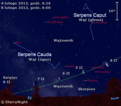 Położenie Księżyca wkońcu pierwszej dekady lutego 2013 r.