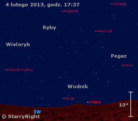 Położenie Marsa i Merkurego w końcu pierwszej dekady lutego 2013 r.