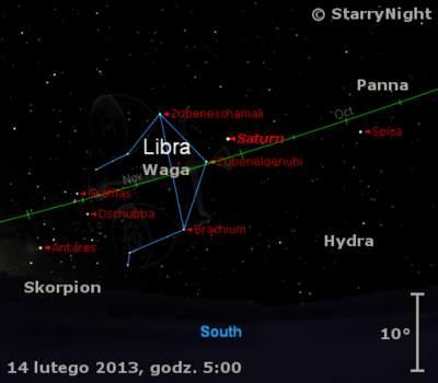 Położenie Saturna napoczątku drugiej dekady lutego 2013 r.
