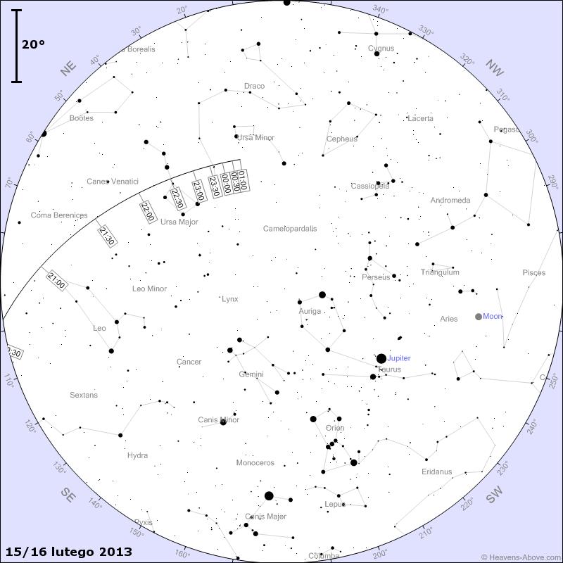 Położenie planetoidy DA 14 w nocy z 15 na 16 lutego 2013 r.