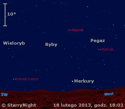 Położenie Merkurego wtrzecim tygodniu lutego 2013 r.