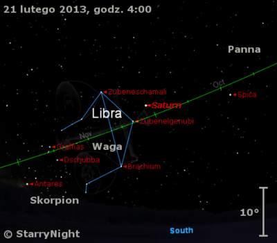 Położenie Saturna wtrzecim tygodniu lutego 2013 r.