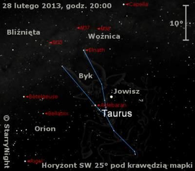 Położenie Jowisza naprzełomie lutego  imarca 2013 r.