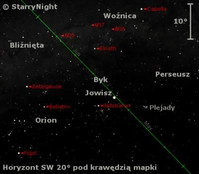 Położenie Jowisza w końcu pierwszej dekady marca 2013 r.