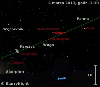 Położenie Saturna i Księżyca w końcu pierwszej dekady marca 2013 r.