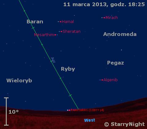 Położenie Księżyca i komety PanSTARRS-u na początku drugiej dekady