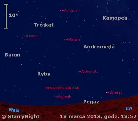 Położenie Księżyca i komety PanSTARRS-u w trzecim tygodniu marca 2013