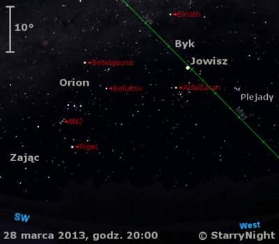 Położenie Wenus i Jowisza w ostatnim tygodniu marca 2013 r.
