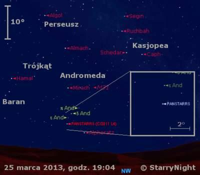Położenie Księżyca i komety C/2011 L4 (PanSTARRS) w ostatnim tygodniu marca 2013
