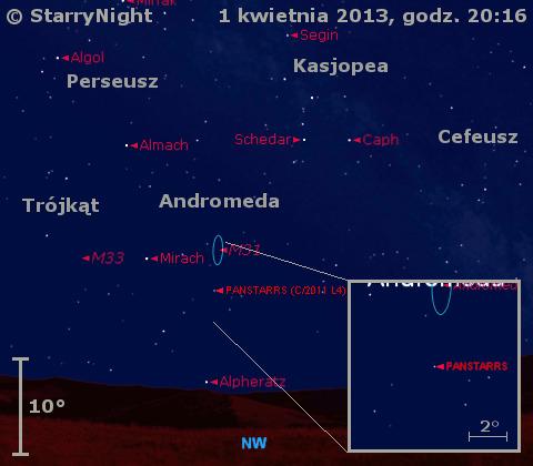 Położenie Księżyca i komety C/2011 L4 (PanSTARRS) w pierwszym tygodniu kwietnia 2013