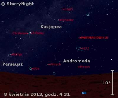 Położenie Księżyca ikomety C/2011 L4 (PanSTARRS) wdrugim tygodniu kwietnia 2013