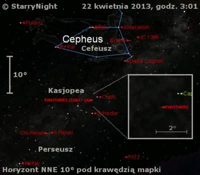 Położenie komety C/2011 L4 (PanSTARRS)  wczwartym tygodniu kwietnia 2013 r.