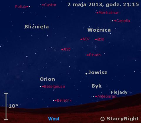 Położenie Jowisza w pierwszym tygodniu maja 2013
