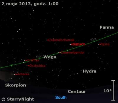Położenie Saturna wpierwszym tygodniu maja 2013 r.