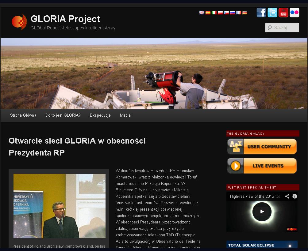Strona domowa projektu GLORIA