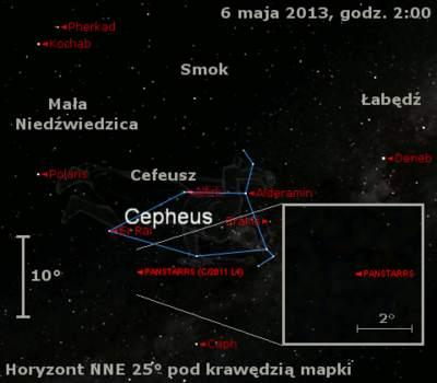 Położenie Księżyca ikomety C/2011 L4 (PanSTARRS) wdrugim tygodniu maja 2013
